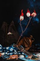 Camping still life with marshmallows by dinabelenko