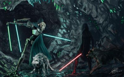 General Grievous Vs Sith Lord Commission Painting by Entar0178