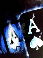 BLUE FLAME ACES POKER ART PAINTING