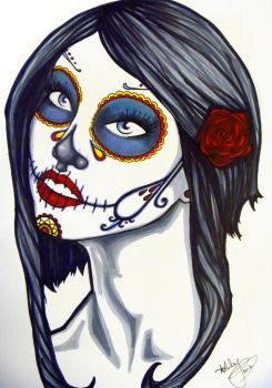 Day of the dead girl -red and black by badash13