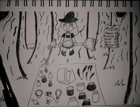 Inktober Day 3: Merchant Witch by Tailsimp
