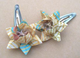 Origami Lotus Flower Barrettes by tiranaki