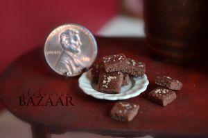 Chocolate Brownies with Nuts 1:12 Scale by TheMiniatureBazaar