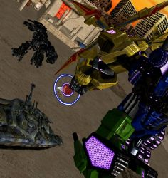 Request: Ironhide and Altera vs Brawl and Bruticus by WOLFBLADE111