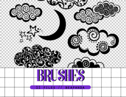 Brushes 016 // Moon and Clouds by BEAPANDA
