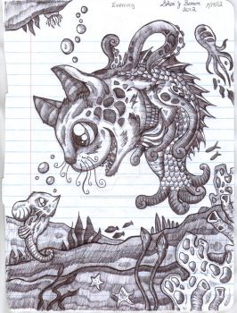 octo-pussy and mouse seahorse by VoodooWolfStudios