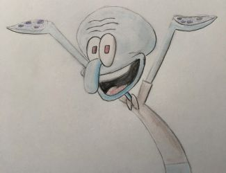 Squidward Happy by CaptainEdwardTeague