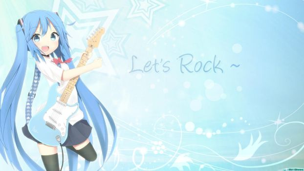 Miku Guitar pop blue Let's Rock~ by Takuneru