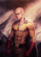 Serious mode. Saitama Fanart by ThunderSeth