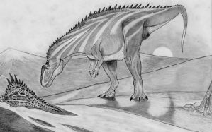 Acrocanthosaurus at Sunset by Fragillimus335