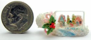 CHRISTMAS COTTAGE VILLAGE HOUSE BOTTLE by WEE-OOAK-MINIATURES