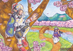 ACEO #53 and #54 - Among the Cherry Trees by Amalika