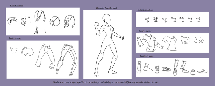 Character Design Base (Female - Basic Styles) by RottenRibcage