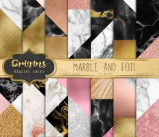 Marble and Foil Digital Paper by DigitalCurio