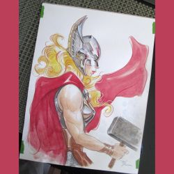 Lady Thor watercolor by MichaelDooney