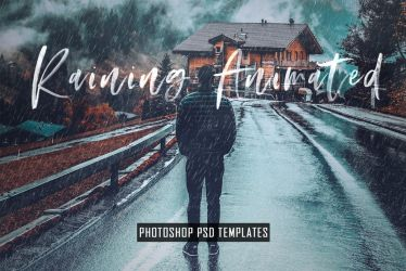 Animated Raining Photoshop PSD Template Actions by symufa