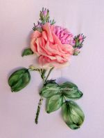 My new rose,silk ribbon embroidery by TetianaKorobeinyk