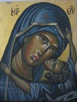 Holy Mother holding baby Jesus by AsiMakri
