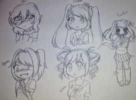 Yandere Simulator sketches by NightmareQueenKasei
