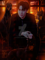J-Hope with Dobermans by byDurst
