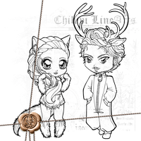 Wolf + Deer Chibi Lineart P2U by Chibivi-Linearts