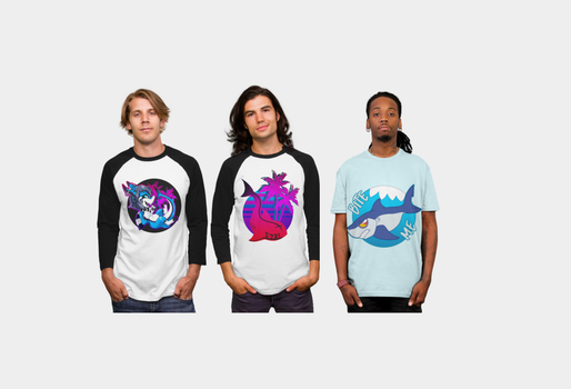 EzriArt's debut of SHIRTS!!! SHARKS!!! VAPORWAVE! by EzriArt