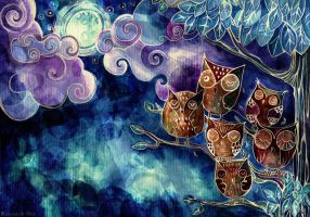Six Owls by MademoiselleOrtie