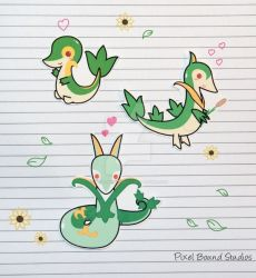 Snivy/Servine/Serperior Stickers and Magnets by pixelboundstudios