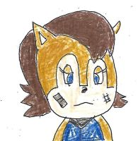 Sally Acorn with bandage and scar on her face by dth1971