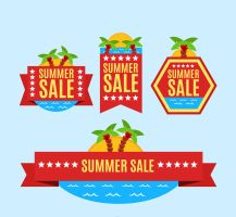 4 Summer Palm Tree Promotion Label Vector by FreeIconsdownload