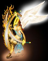 fire sword angel by johnercek