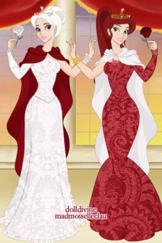 Snow White and Rose Red in modern gowns by DragonWitch1469