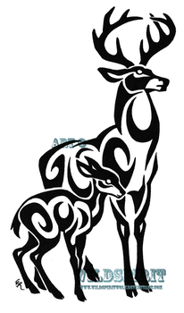 Tribal Stag And Fawn Tattoo by WildSpiritWolf