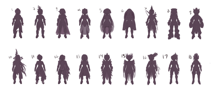 Female Character concept Thumbnail Silloutte page by DragonLoreStudios