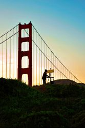 Painting Golden Gate Bridge by Ceardach