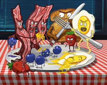 FOOD FIGHT - The Breakfast Battle by HalHefnerART