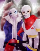 Sans and Papyrus .:Fanart+Collab:. by ShuniYamasaki