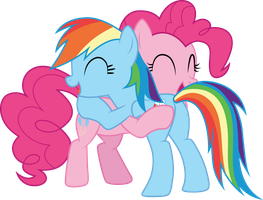 Pinkie Pie and Rainbow Dash hugging by CloudyGlow