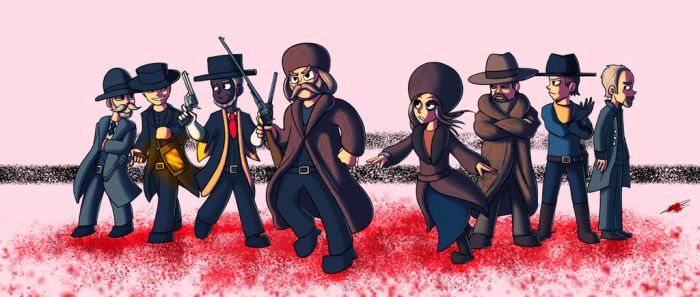 The Hateful Eight Cartoony by Twisted4000