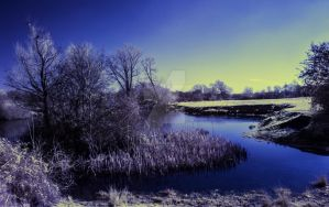 Infrared landscape photo of a lake by photographybypixie