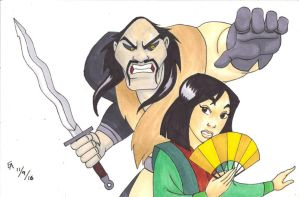Shan Yu and Mulan by mayorlight