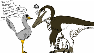 Halszkaraptor confronts Austroraptor about titles by Wyatt-Andrews-Art