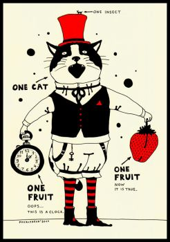cat, clock and fruit by maskpicasso
