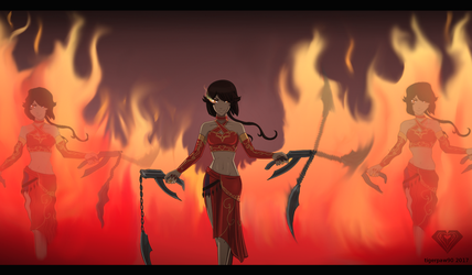 Ember Fall (Cinder / Emerald fusion) by TigerPaw90