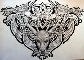 Celtic Stag and Birds by Tattoo-Design