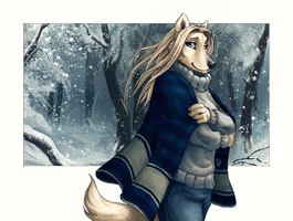 Snowy Forest Wolf by TasDraws