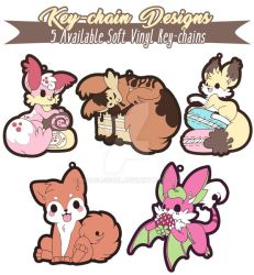 TPS: Kickstarter Kekitsune and Friends Key-chains by MoogleGurl