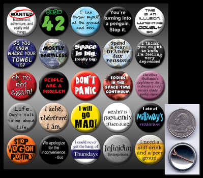 HitchHiker's Guide 1' buttons by eitanya
