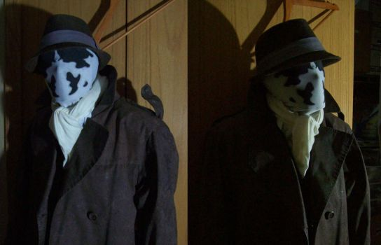 Rorschach costume in progress by FugueState