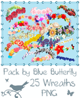 Pack by Blue Butterfly PNG 25 Wreaths by Butterfly-Blue-B